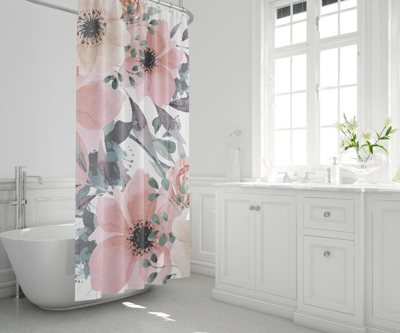 Shower Curtain Sets Floral Shower Curtain Etsy Gray Shower Curtains Floral Shower Curtains Floral Shower