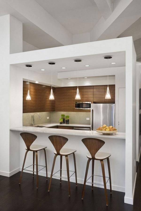 funktionelle-kleine-küche-einrichten-hängelampen | küche, Hause ideen