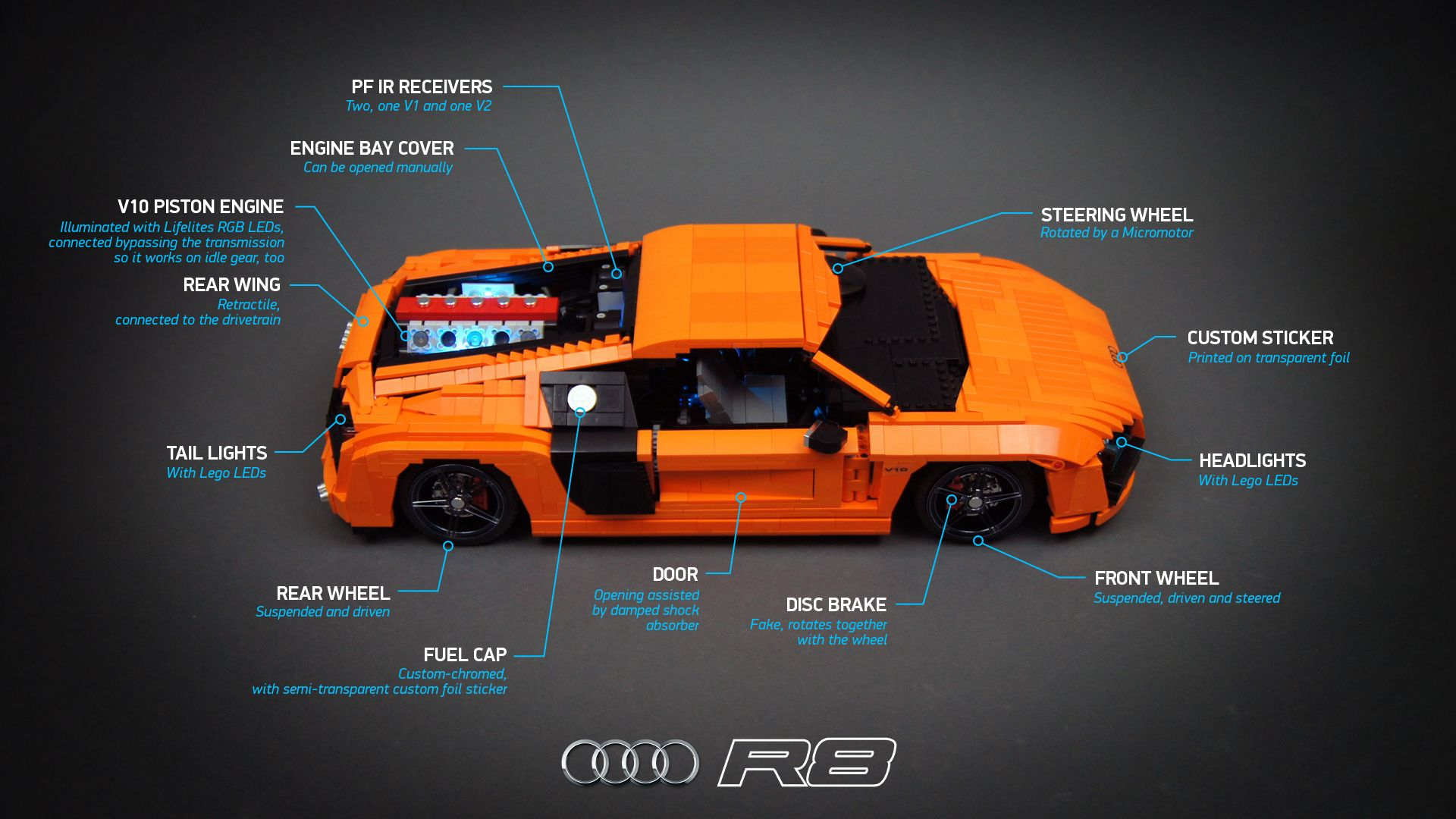 model of the audi supercar features full suspension awd. Black Bedroom Furniture Sets. Home Design Ideas