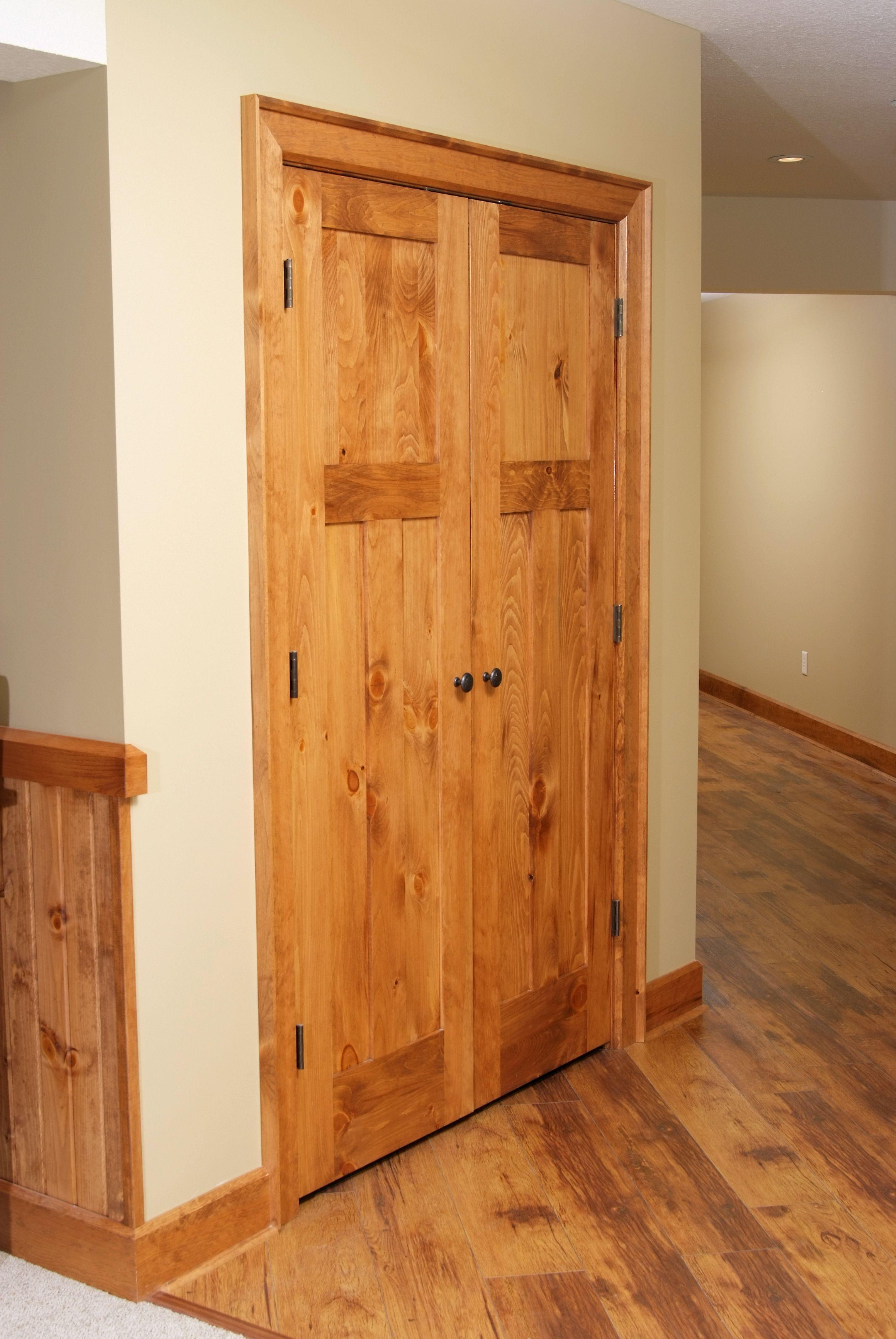 shaker style knotty pine double door closet unit. | interior doors