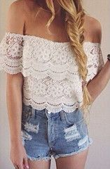 Lace Love - Lace hippie style off shoulder bohemian tee
