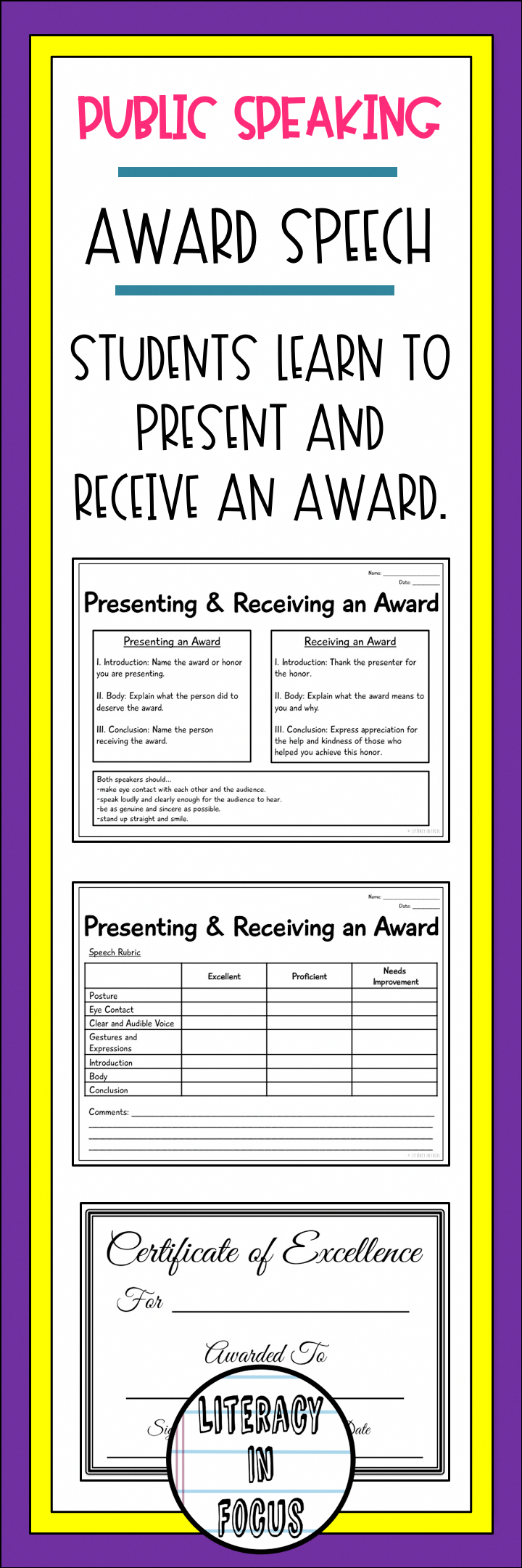 students learn how to appropriately present and receive an award