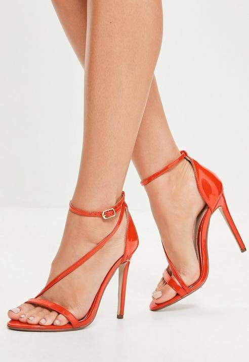 Orange Asymmetric Barely There Heels | Latest ladies shoes