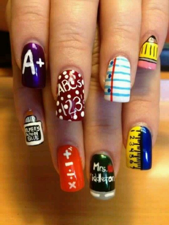 22 Diy Back To School Nails For Kids Nail Designs Pinterest