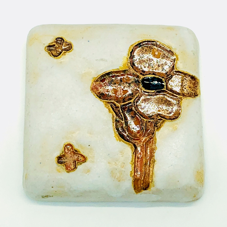 Pewabic Tile Detroit Art Pottery Flower Tile