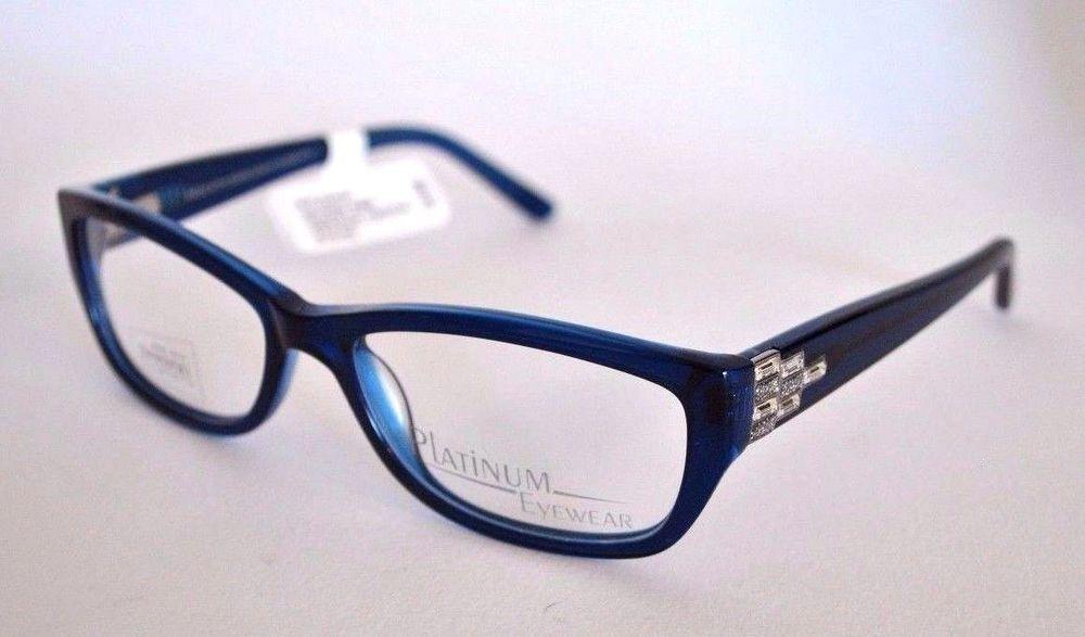 platinum womens designer eyeglass frames model 347 blue 53