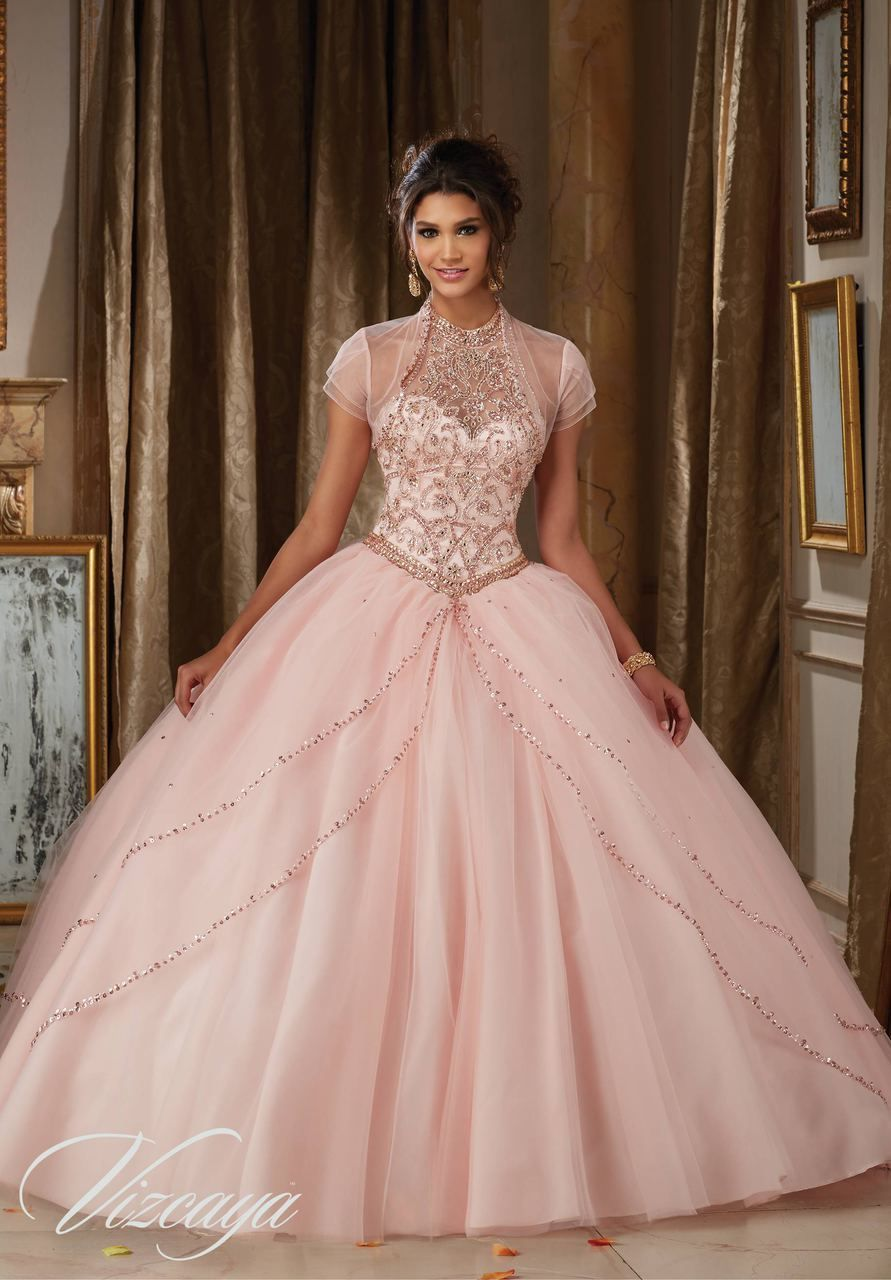 Jeweled Beading on Princess Tulle Ball Gown #89114 | vestidos XV ...
