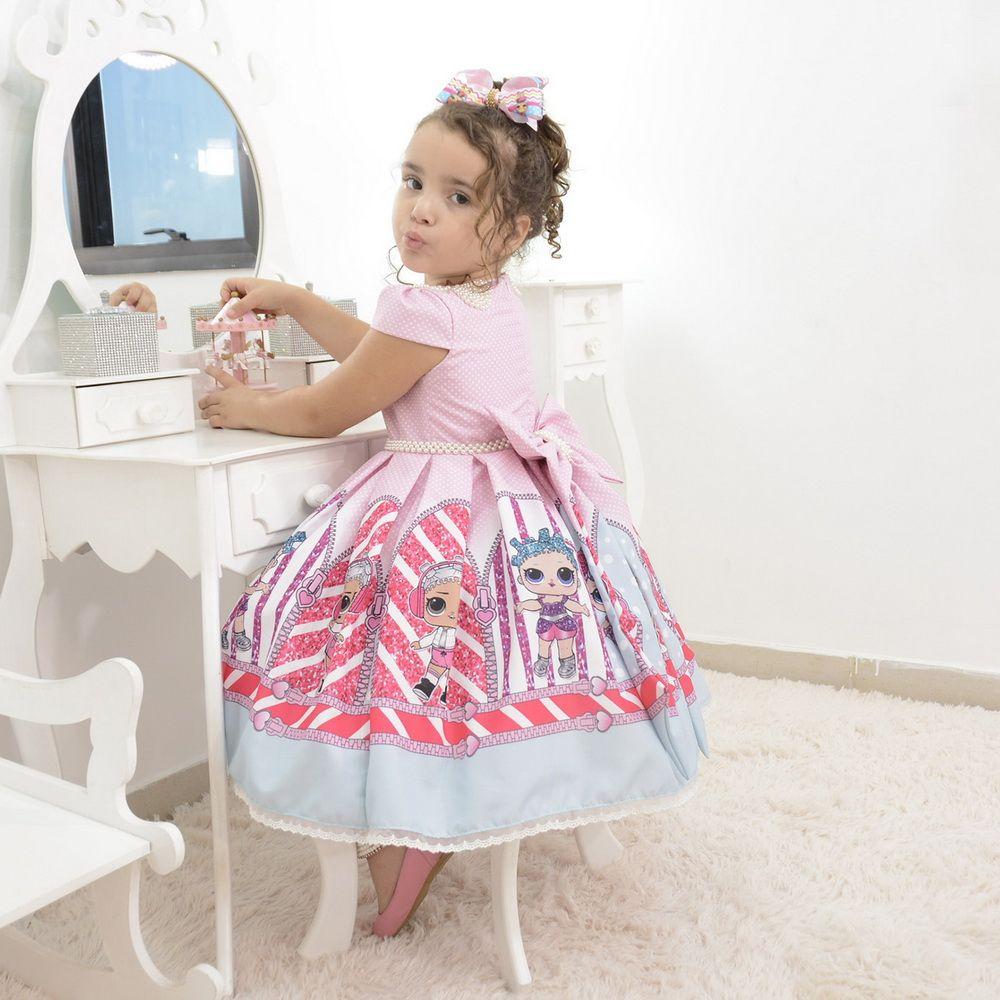 1a51e921f69 Vestido infantil da Lol Surprise rosa com bordados em perolas Atendimento  via whatsapp 062982694208 ou no