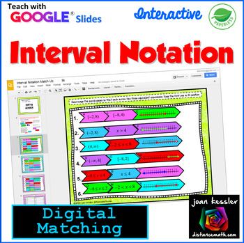 Interval Notation With Google Slides Distance Learning In 2021 Graphing Inequalities Notations Distance Learning
