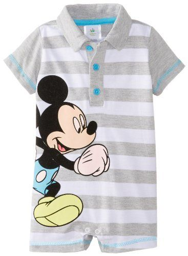 4d2fc7240313 Disney Baby Baby-Boys Newborn Grey Heather Mickey Mouse Striped Romper  Amazon Clothing