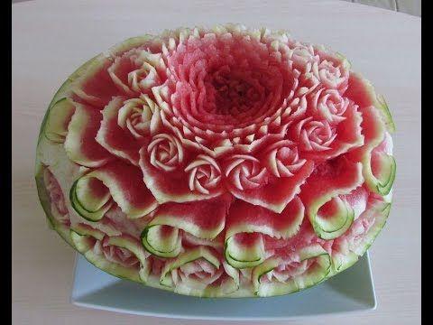 فن النحت على البطيخ طفرة جوز Flowers Rose Watermelon