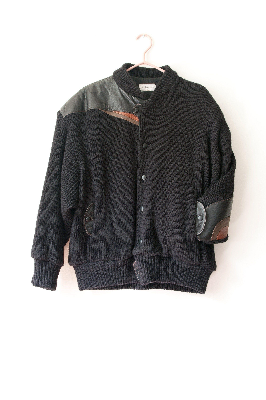 1980 S Wool And Leather Bomber Jacket Vintage Black Etsy Bomber Jacket Vintage Heavy Knit Leather Bomber Jacket [ 3000 x 1993 Pixel ]