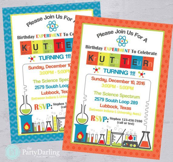 Printable Science Birthday Invitation created and sold by