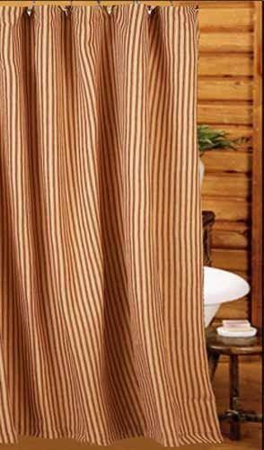 Barn Red York Ticking Shower Curtain 72 X 72 Farmhouse Shower Curtain Shower Curtain Farmhouse Shower