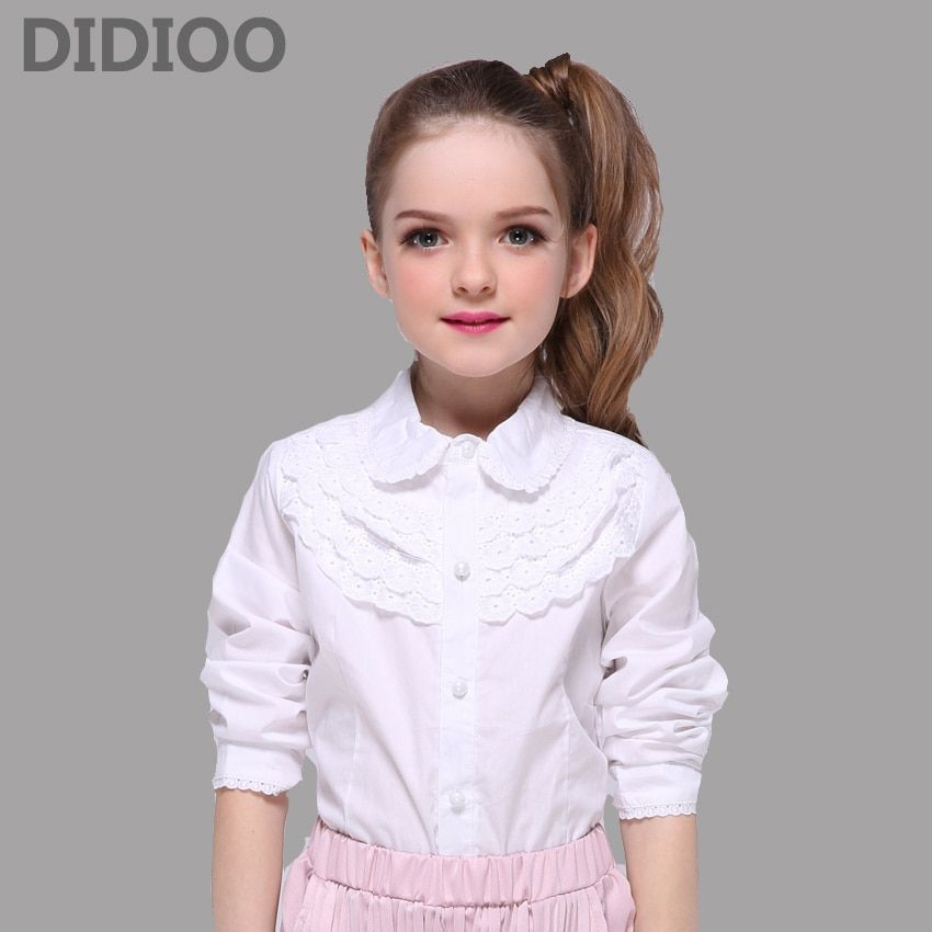 9635c0dd1 School Kids White Blouses For Girls Children Clothing Long Sleeve Cotton Lace  Shirts Girls Teenage Tops