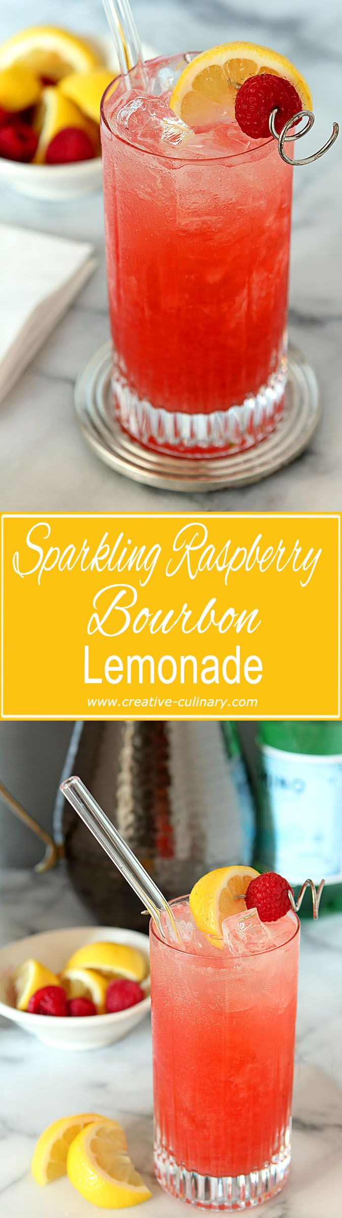 Sparkling Raspberry Bourbon Lemonade Cocktail #sparklinglemonade