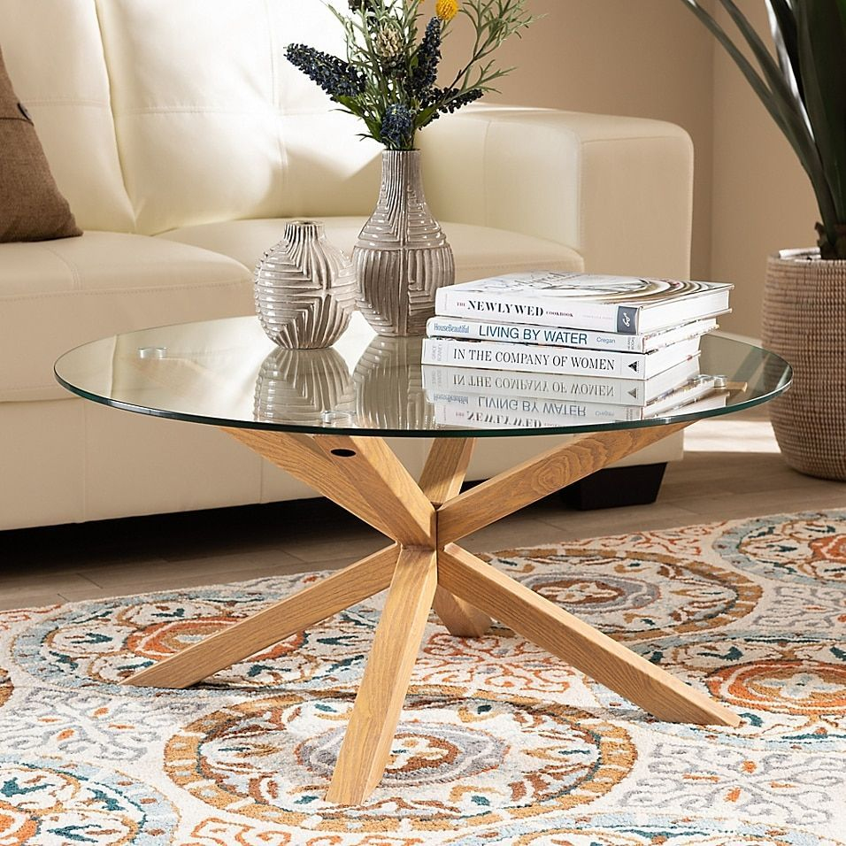 Baxton Studio Emilie 32 Round Glass And Wood Finished Coffee Table Natural Mult Baxto Glass Wood Coffee Table Round Glass Coffee Table Coffee Table Wood [ 956 x 956 Pixel ]