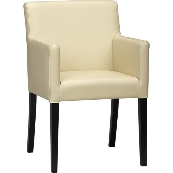 Ivory Leather Dining Room Chairs Impressive Lowe Ivory Leather Arm Chair In Dining Chairs  Crate And Barrel Inspiration Design