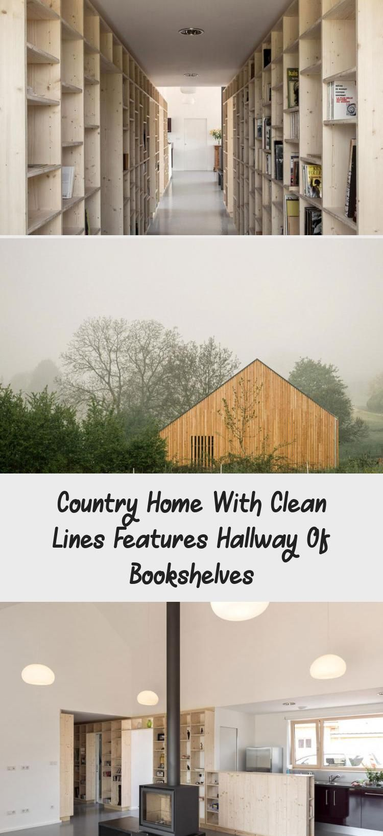 Country Home With Clean Lines Features Hallway Of Bookshelves #hallwaybookshelves