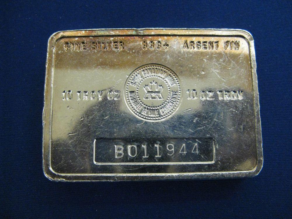 Royal Canadian Mint B Series Vintage 10 Oz Silver Bar 999 Fine Serial B011944 Silver Bars 10 Things Mint