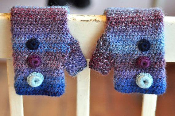 RAINBOW mittens blue&purple  hand made crochet by dagmarabuczek