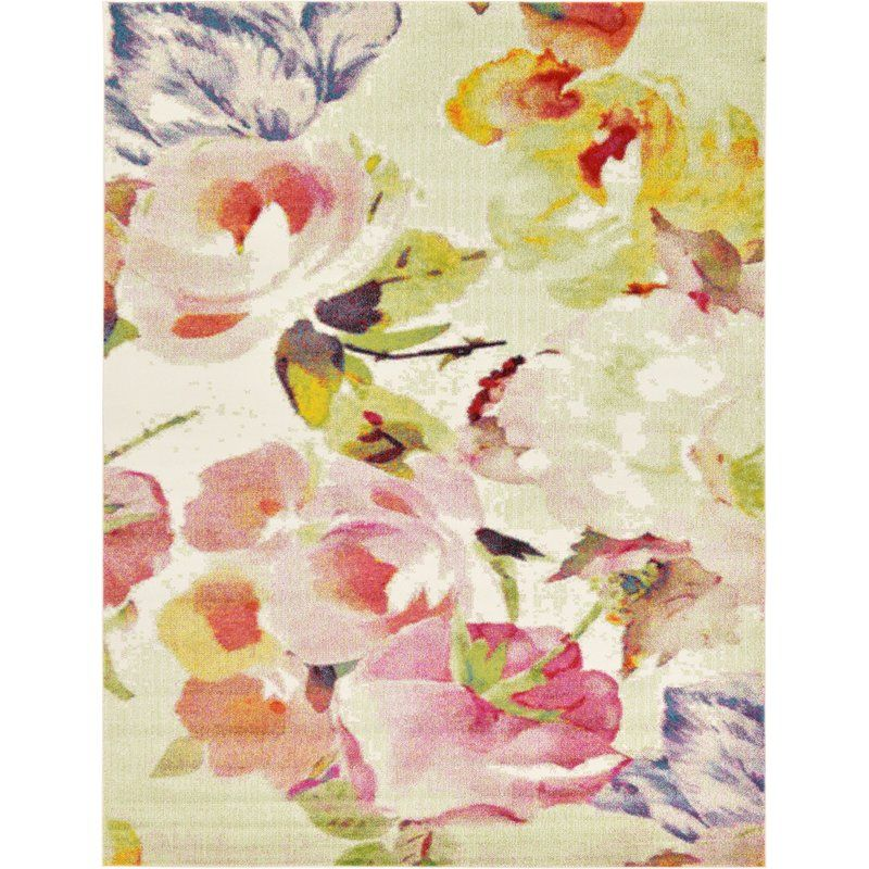 Photo of Raphael Floral Ivory/Green/Red Area Rug