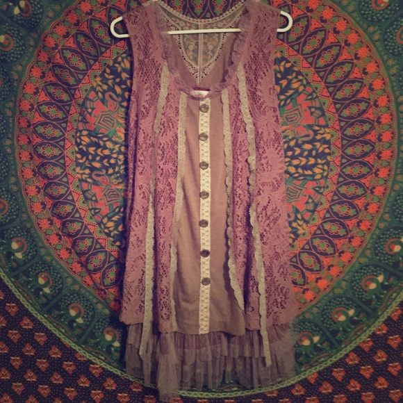 Lavender Shirt/Dress with Lace SO CUTE! In great condition! Looks just like a piece I have from Free People. Awesome detail:) Pretty Angel Dresses Mini