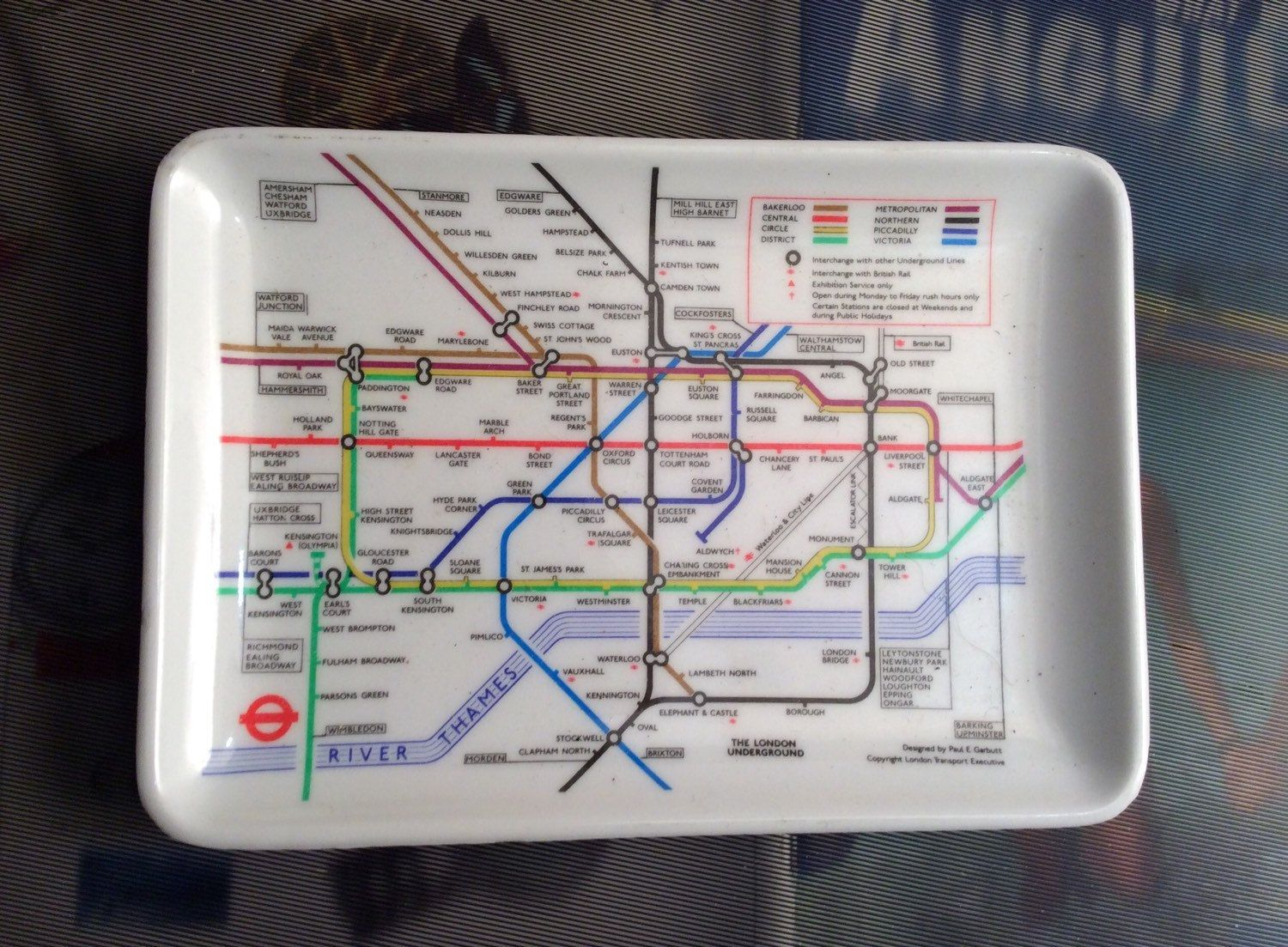 Melamine Souvenir Tray London Underground Map