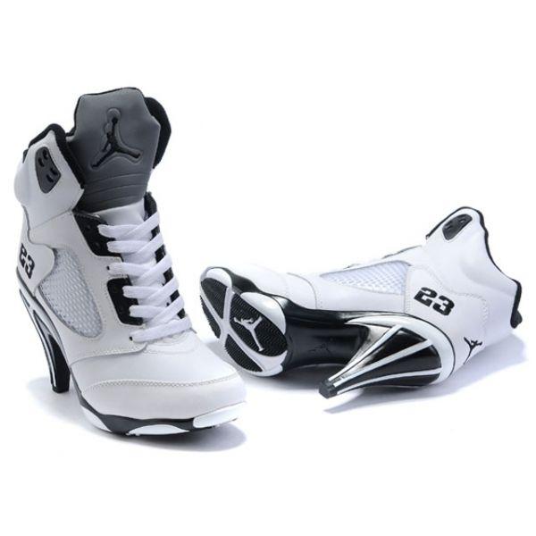 Black · black and white rhinestone high heels shoes   Air Jordan 5 ...