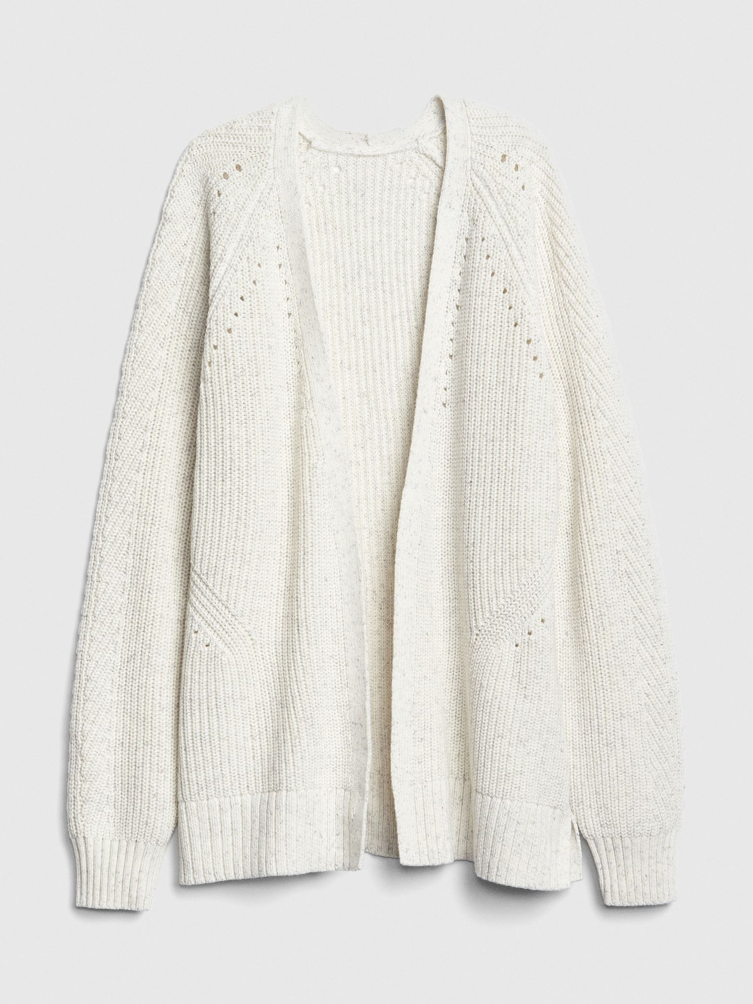 b19e789c84 Relaxed Pointelle Open-Front Cardigan Sweater in 2019