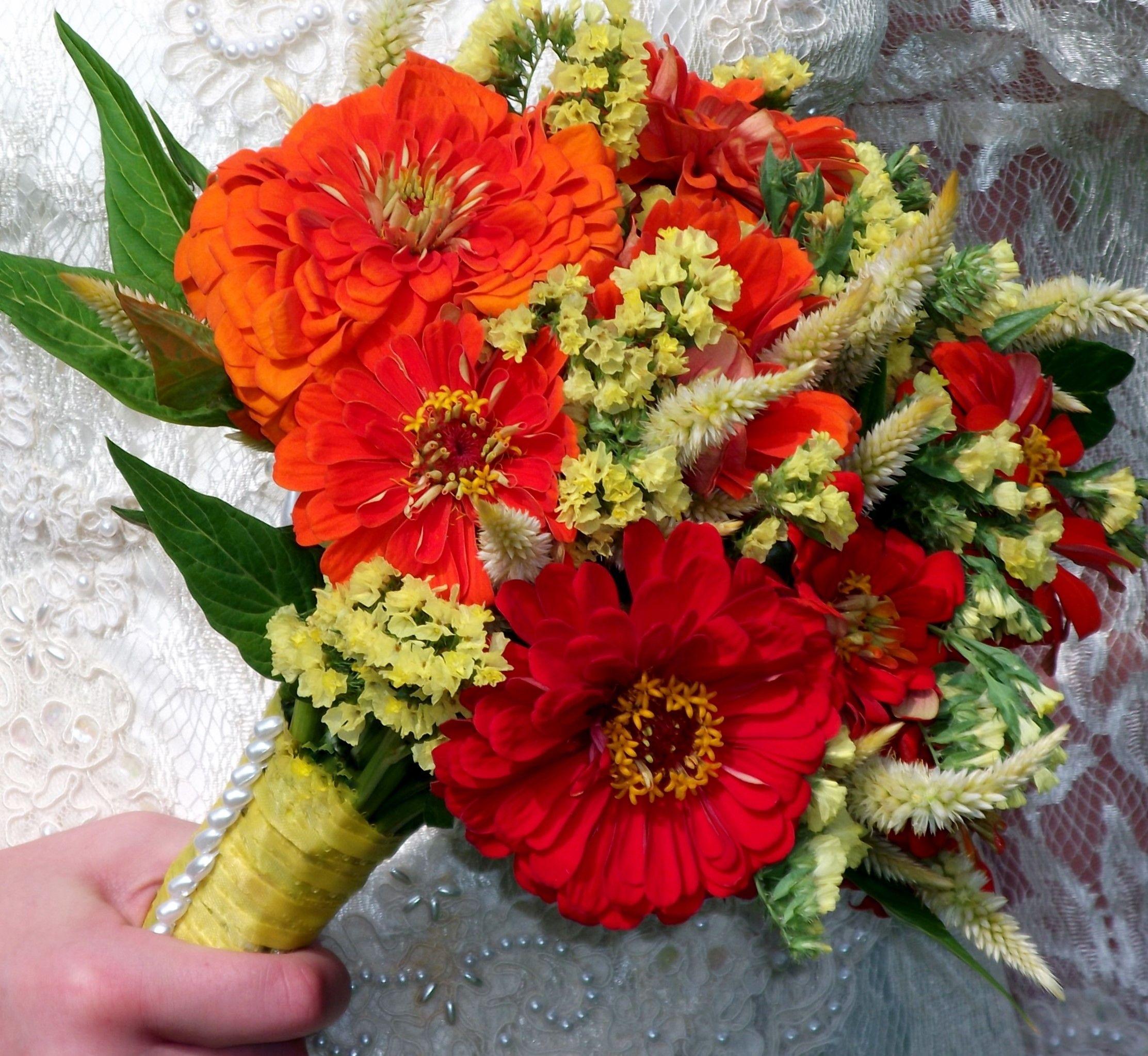 Wedding Flowers Lancaster Pa: Yellow And Orange. Zinnias, Statice And Celosia