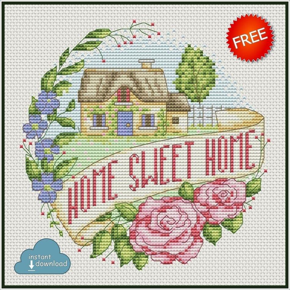 Home Sweet Home Cross Stitch Pattern Pdf Xsd Instant Download Free Stitch This Pretty Des Santa Cross Stitch Free Cross Stitch Charts Cross Stitch Patterns