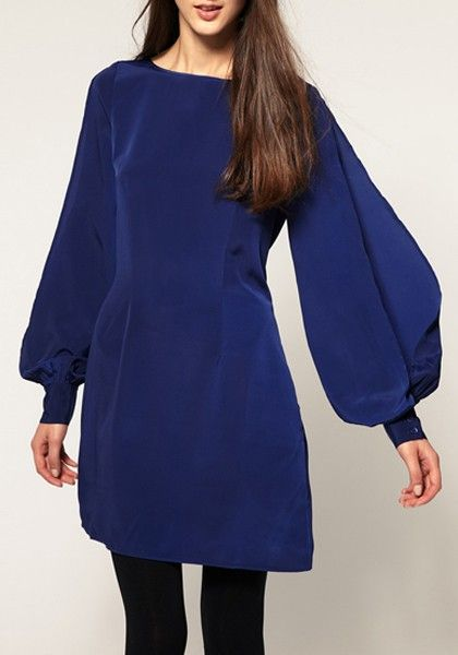 Dark Blue Hollow-out Puff Sleeve Blend Dress