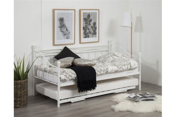 łóżko Prince Białe Rozkładane Metalowe 90 180 X 200 Przytulna
