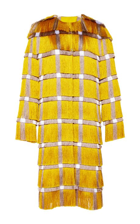 Marco de Vincenzo Fringe Cady Coat In Yellow by  for Preorder on Moda Operandi