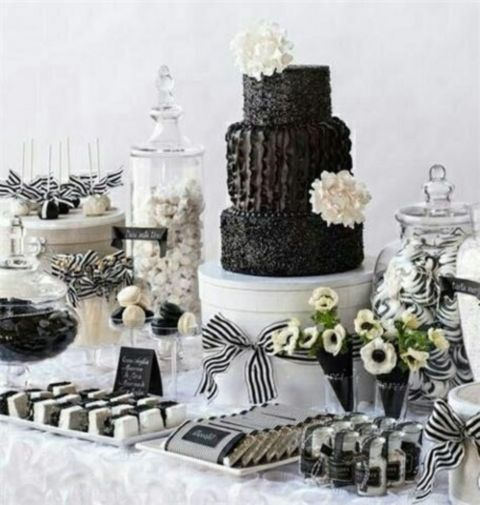 56 Elegant Black And White Wedding Dessert Tables Wedding Dessert Table White Desserts White Dessert Tables