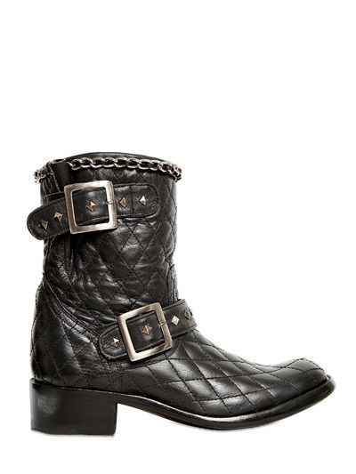 QUILTED BIKER BOOTS
