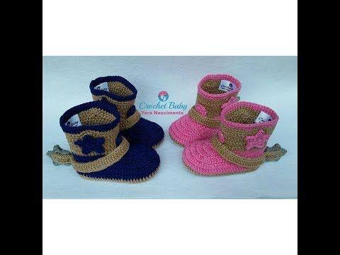 Botinha Country Luciane&Evandro de crochê - Tamanho 09 cm - Crochet ...