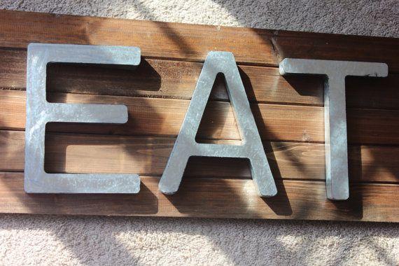 EAT METAL LETTERS Galvanized Zinc Steel Initial Home Decor