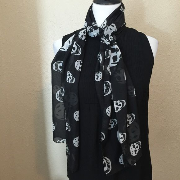 New Sheer Silk Scull Black & White Fashion Scarf New Sheer Silk Scull Black & White Fashion Scarf - fabulous Halloween fun fashion piece - this is a light weight, sheer summer scarf that is rectangular, long and would look cute as an accent to any outfit or double and  tie on your favorite handbag. Bundle for more savings. #sculls #mcqueen #scarfs Lovesdesigner Accessories Scarves & Wraps