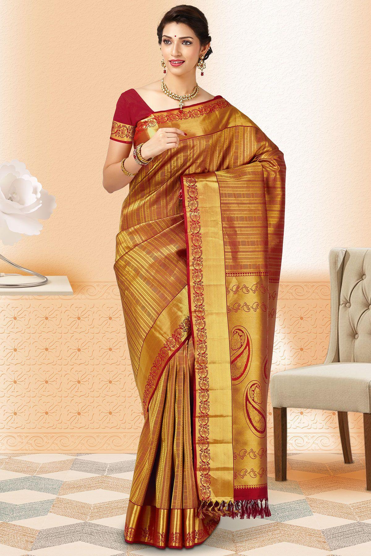 Maroon Gold Kanchipuram Silk Saree Sr24265 Dirndl Hanfu