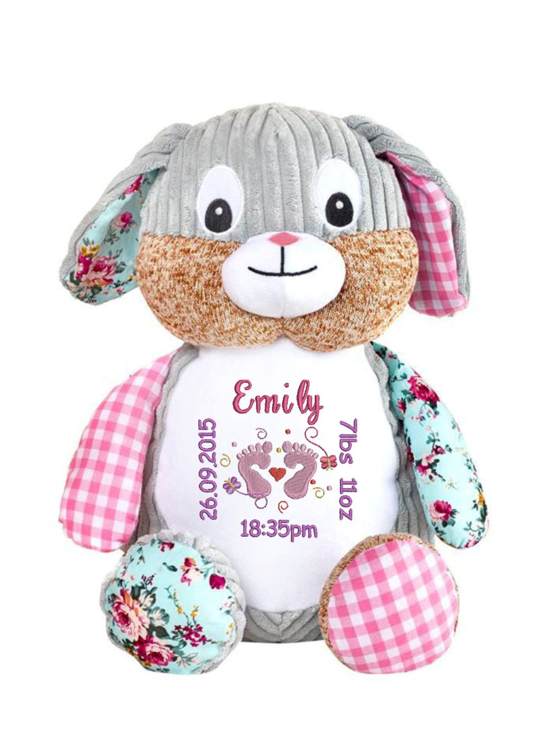 Personalised embroidered harlequin rabbit teddy bear a great personalised embroidered harlequin rabbit teddy bear a great unique gift baby gift new born negle Images
