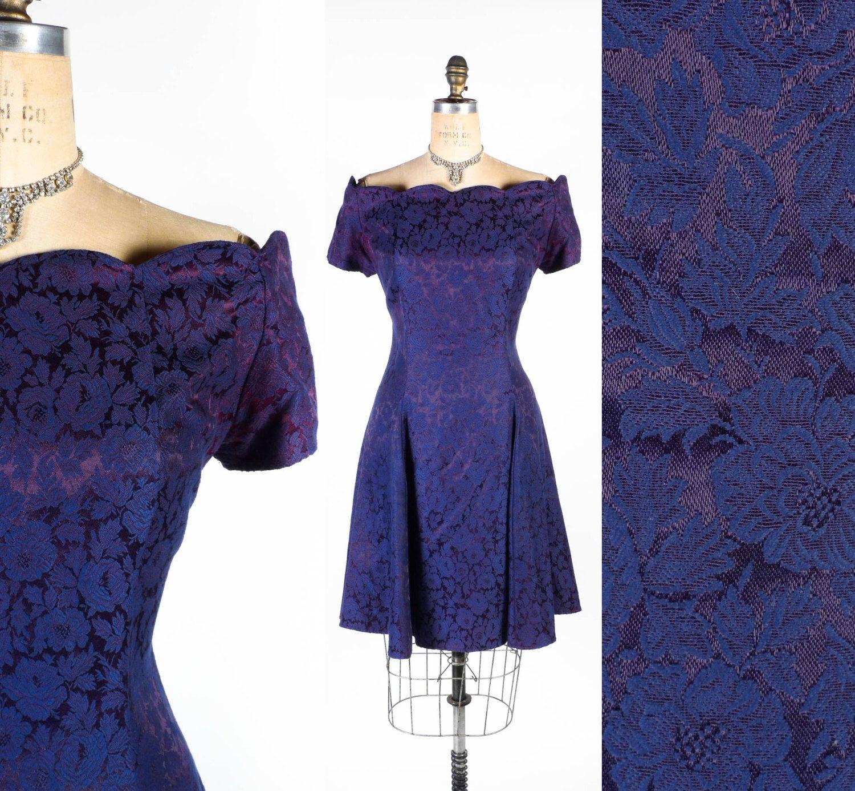 Vintage 80s Dress // Off the Shoulder Dress // Prom Dress // Formal ...