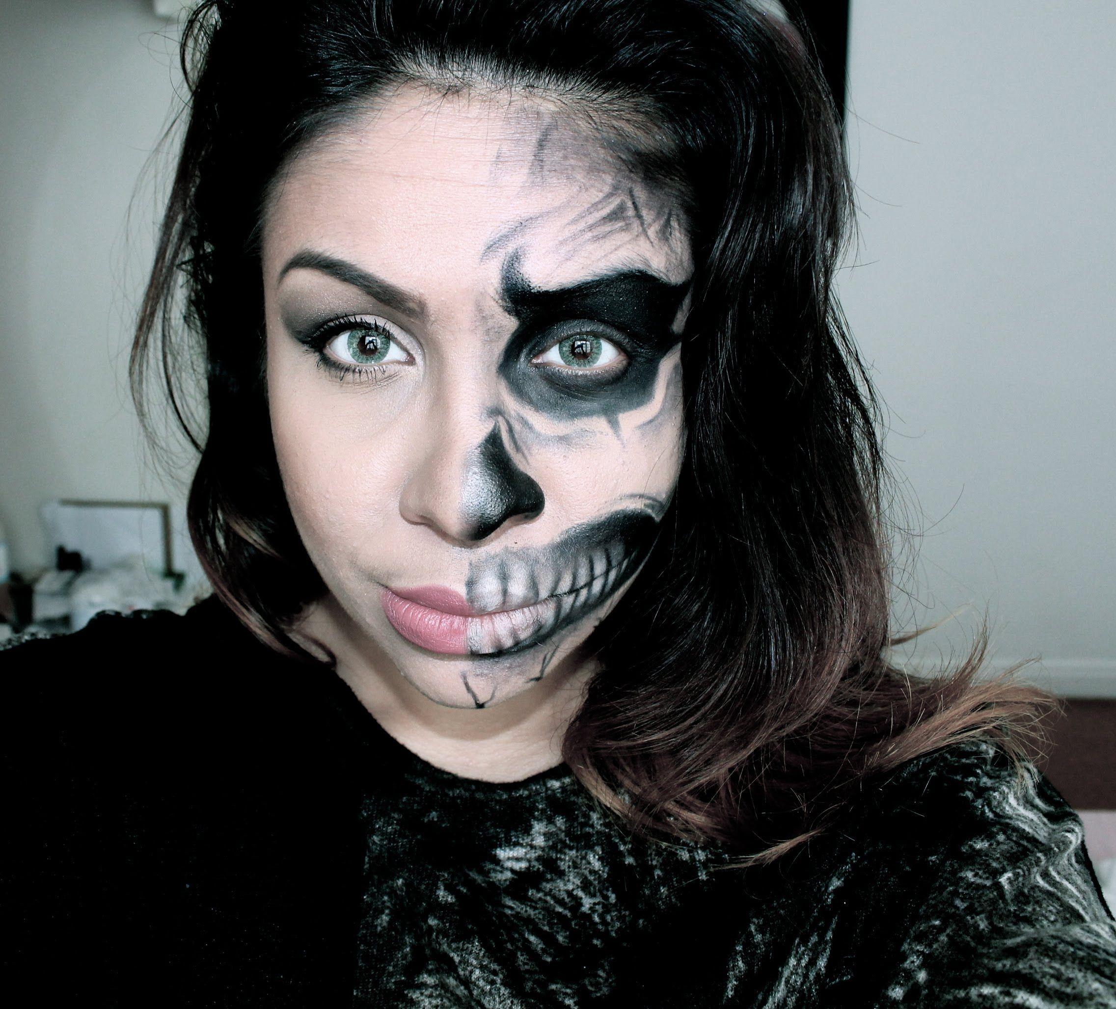Half Human Half Skull Face Halloween Makeup Tutorial Theraviosahn Skeleton Makeup Half Face Half Skull Face Skull Face Paint