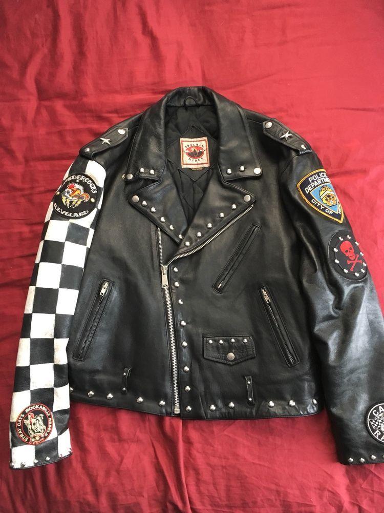 Vtg Motorcycle Leather Jacket Rocker Cafe Racer Clearance In 2019