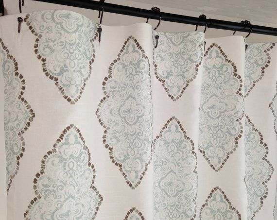 Shower curtain Fabric Shower Curtain Monroe Snowy blue Grey long ...