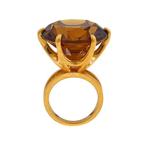 Asa Jewelry Faceted Round Brown Stone Goldtone Cocktail Ring
