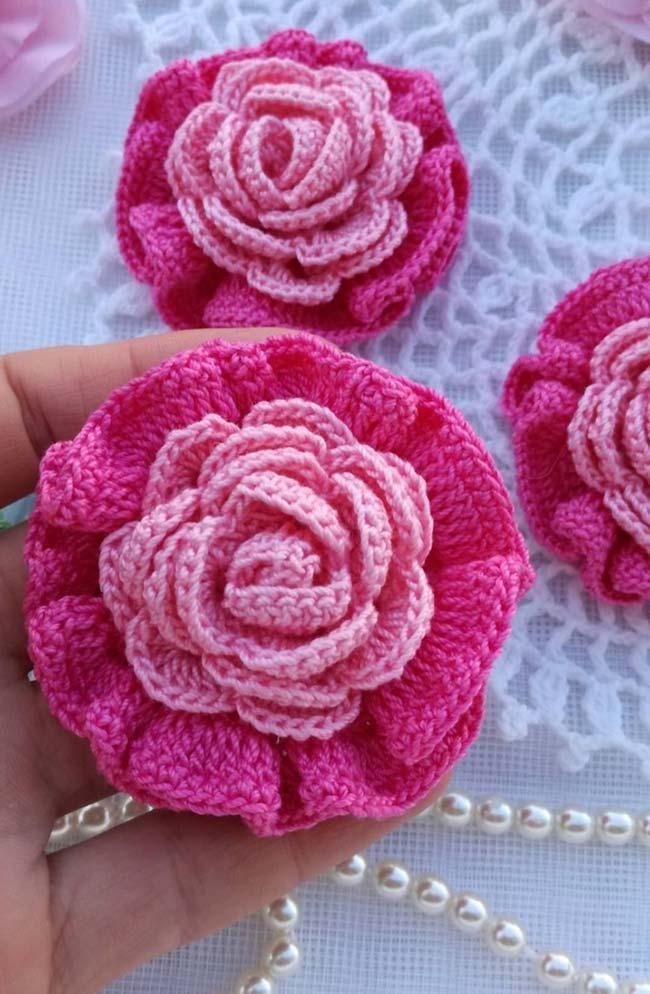 Roses au crochet ton sur ton   – häkeln