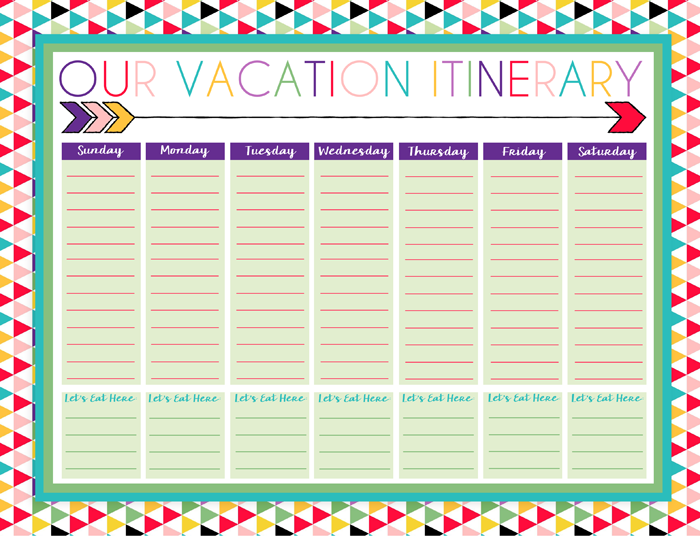 photo regarding Free Printable Vacation Planner Template called Absolutely free Printable Day-to-day and Weekly Holiday Calendars Generate
