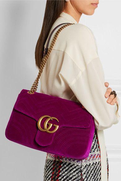 73d0993411c216 Gucci | GG Marmont medium quilted velvet shoulder bag | NET-A-PORTER.COM
